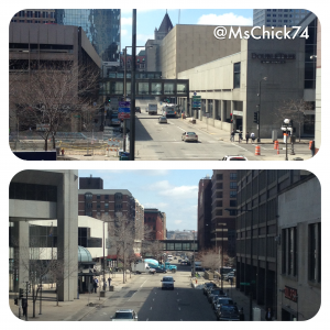 Notice how few pedestrians are on the sidewalks.