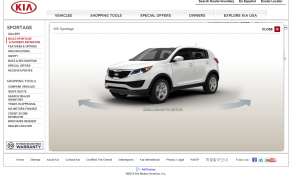 Screen shot of Kia website