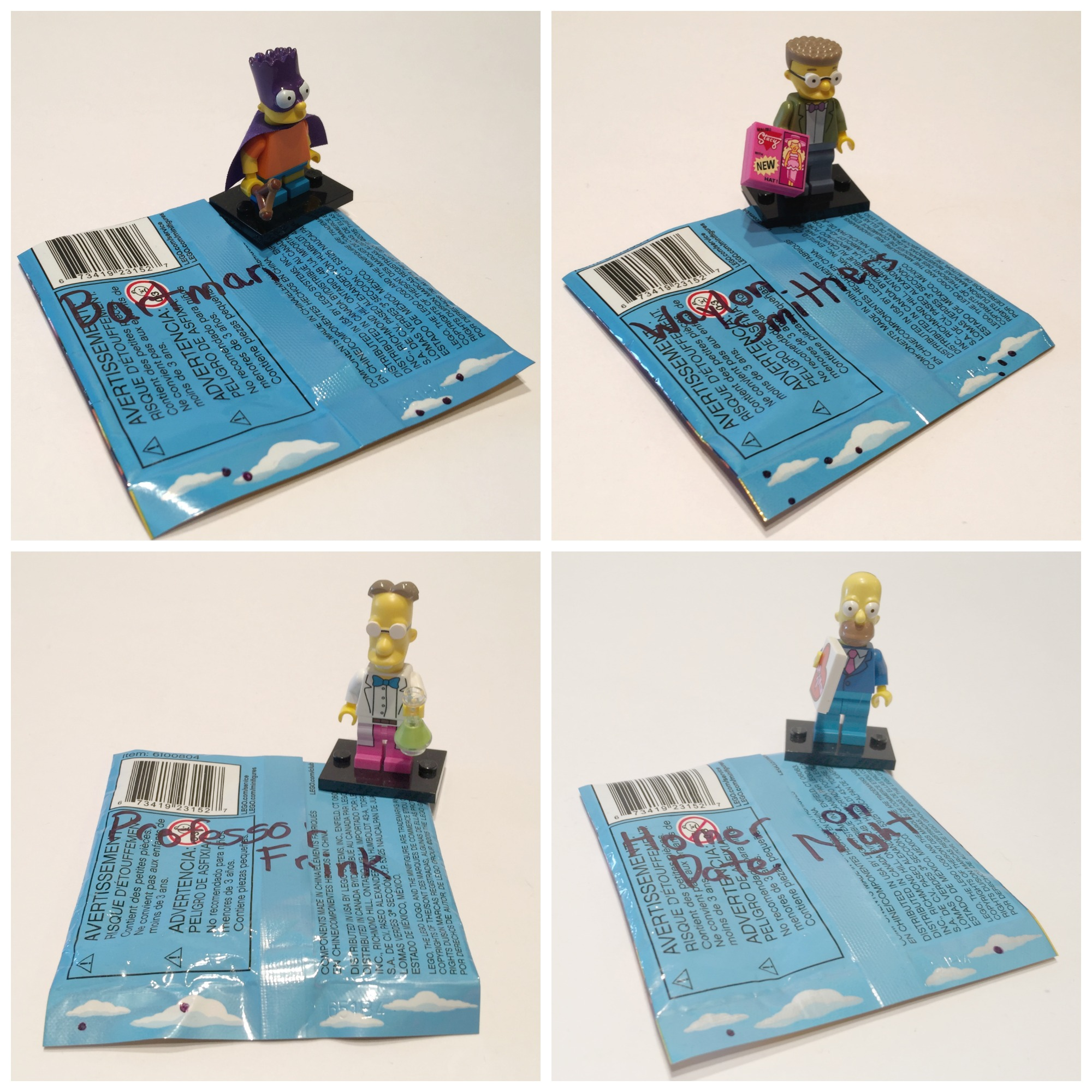 Lego minfigures bump codes simpsons