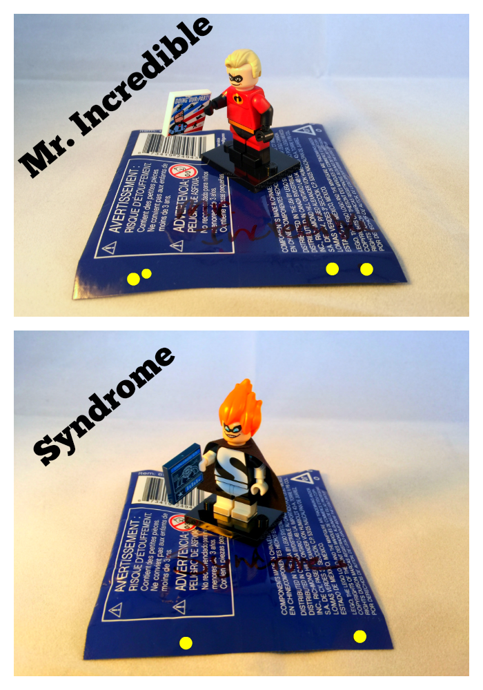 Mr. Incredible & Syndrome LEGO Disney Minifigures Bump Codes